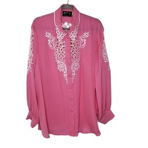 Bob Mackie Silk Long Sleeve Button Up Shirt, 1X